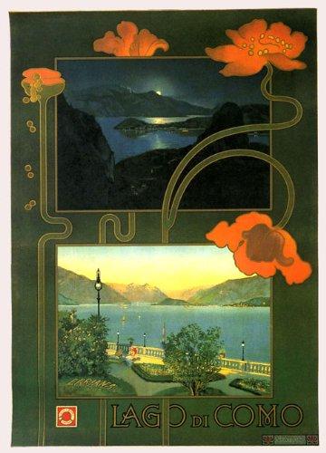 "Lago Lake di Como Sunset Travel Tourism Italy Italia Italian 20"" X 30"" Image Size Vintage Poster Reproduction"