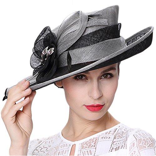 Koola's hats Women 3 Layers Sinamay Kentucky Derby Church Sun Summer Hats, Grey Black, One Size