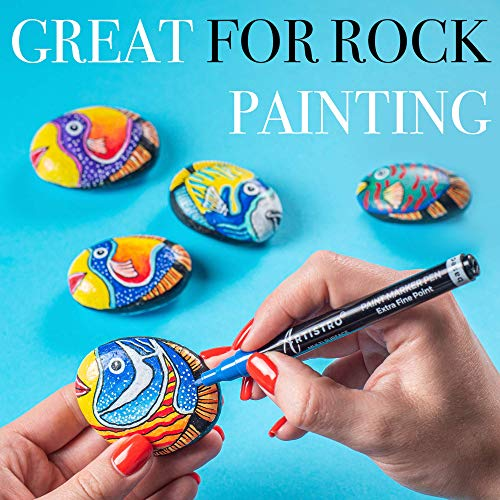 Acrylic Paint Pens for Rock, Stone, Ceramic, Glass, Mugs, Wood, Metal, Fabric, Canvas (30 Pack) 28 Assorted Colors + Extra Black & White Paint Markers. Extra Fine Tip 0.7mm Photo #7