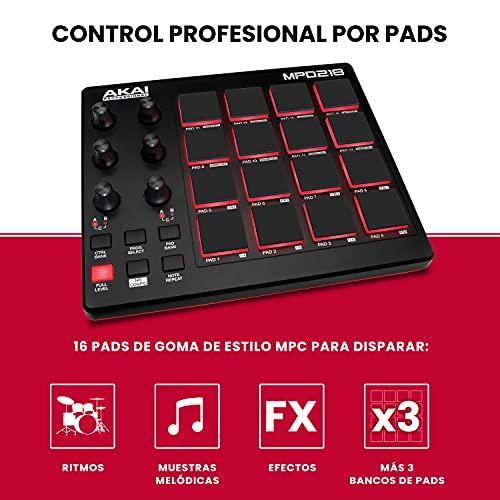 AKAI Professional MPD218- Controlador de pads MIDI USB portátil con 16 pads MPC y 6 potenciómetros asignables para DAW, botones Note Repeat y Full Level, y pack de software incluido