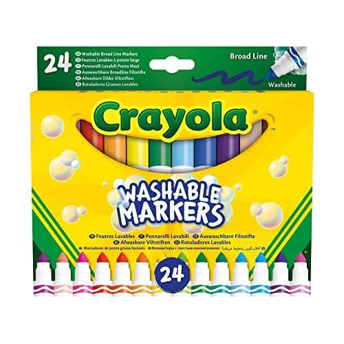 Crayola-24 Pennarelli Lavabili, Punta Maxi, Assortiti, per Scuola e Tempo Libero, Colore, 58-6570