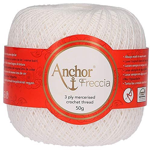 Anchor Freccia Stärke 12 4771012-07901 weiß Häkelgarn, 100 % Baumwolle