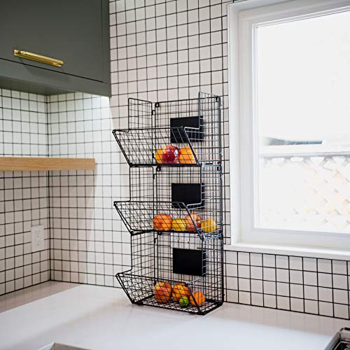 3 Tier Wire Basket Wall Mount – Wall Baskets For Kitchen Hanging Fruit Organizer Produce Bin – Rustic Wall Hanging Storage Vegetable with 5 S-Shaped Hooks & 3 Chalkboards