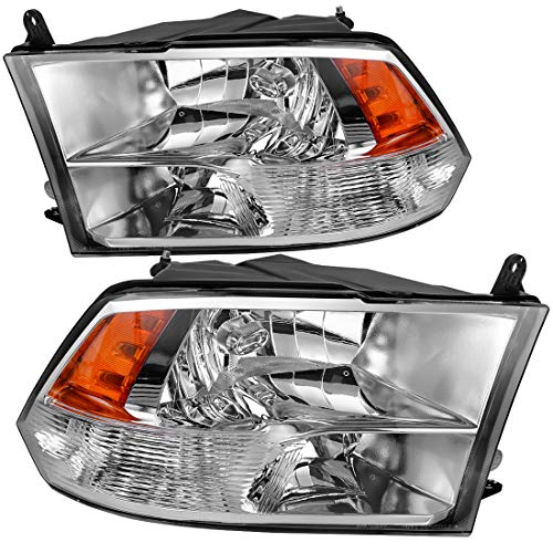 DWVO Headlight Assembly Compatible with 2009-2018 Dodge Ram 1500 2500 3500 Pickup Quad Headlamp Replacement,Chrome Housing Amber Reflector,(Quad Models Only)