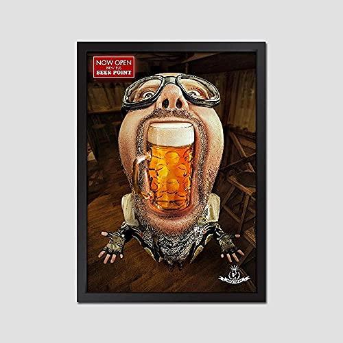 YYTTLL Bar Pub Decorazione Creativa Poster Ragazza Dorata Birra E Bocca Grande Uomo Tela Pittura di Arte della Parete Immagine per La Decorazione Domestica Senza Cornice 40X60Cm
