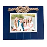 Beachcombers Navy Picture Photo Frame 5'x7' with Jute Rope Accent Wood Coastal Nautical Home Decor for Tabletop Display Wall Blue