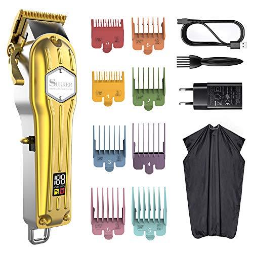 SURKER Cortapelos para hombre con batería, cortapelos y barba, kit de peluquería...