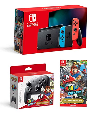 Nintendo Switch Bundle: Nintendo Switch Console Neon Red and Blue Joy-con, Nintendo Switch Pro Controller and Super Mario Odyssey Full Game Download Code
