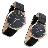 Lancardo - Reloj de pulsera para pareja con correa de piel artificial, esfera con números romanos y movimiento de cuarzo, negro (1par)