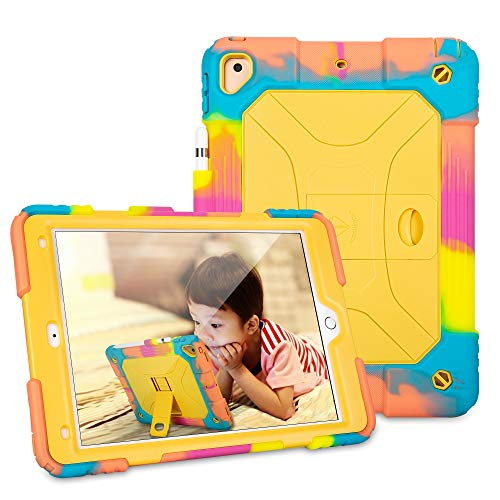 iPad 10.2/iPad 10.5 Case Built in Pencil Holder&Kickstand,Soft Silicone Makes Shockproof Protective Case for Kids' Outdoor Activity for iPad 7th Generation/iPad 10.5 2019-Ice/Yellow