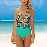GREQ Conjuntos de Bikini para Mujer Nuevo Traje de baño de una Pieza Traje de baño Sexy Traje de baño de impresión Digital Traje de baño Bikini Traje de baño 15 Colores Bolso Suave 2 Green_2XL