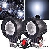 10W Faros Adicionales Moto,Biqing 2 Inch Faros de Moto Faros Antiniebla Lámparas Auxiliares del LED 12V 24V LED Luz de Trabajo Luz de Inundación Con Interruptor de Manillar de Motocicleta 22mm