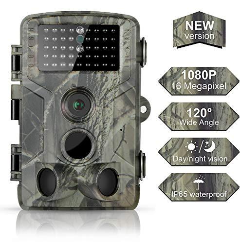 DIGITNOW! Wildkamera Fotofalle 16MP 1080P FHD Jagdkamera Beutekameras, 120° Weitwinkel Vision Und Infrarot 80FT/25m Nachtsicht, wasserdichte IP65 Überwachungskamera 42 IR LED