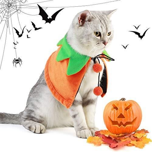 Dorakitten Disfraz para Gato, 2 PCS Disfraz de Halloween para Gato Disfraz de Calabaza y Sombrero de Calabaza Mantón para Mascotas para Gato y Perrito (Doble Cara)
