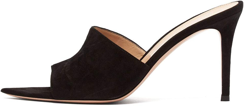 High Heels, Women's Sandals - Pointed Toe - Stiletto shoes - high Heel Muller - Super high Heel (8CM or More),Black,45