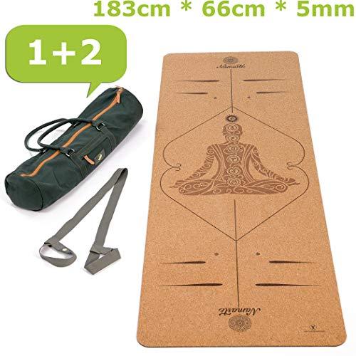 Lebensmuster® rutschfeste Yogamatte aus Kork & Naturkautschuk inklusive Tasche 183cm x 66cm x 5mm, schadstofffrei Dein TREUER Begleiter, Jogamatte -...