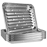 Plasticpro Aluminum Grill Pans, Broiler Pans, Grill Liners, Durable with Ribbed Bottom Surface for BBQ, Grill, Texture Disposable,Pack of 10