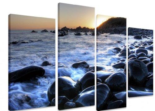 Split immagine, Multi Panel Canvas ART Interiors-Rocks Beach onde Sunrise Sunset Orange Sky ART Depot-OUTLET-Pannello 101 cm x 4 cm (71') cm x 101,60 (40 71,12 (28 cm)