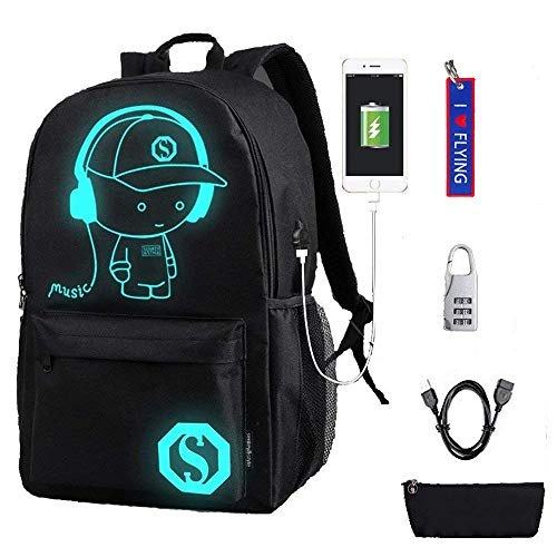 WYCY Anime Cartoon Luminous Backpack Mochila de Moda con Puerto de Carga USB y antirrobo Lock & Pencil Case, Mochila Escolar Unisex Bookbag con Bordado Llavero Colgante(Niño de música Negro)