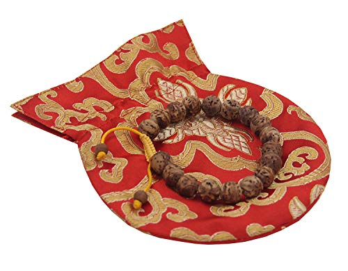 DharmaObjects Tibetan Buddhist Meditation 18 Beads Genuine Bodhiseed Wrist Mala/Pouch