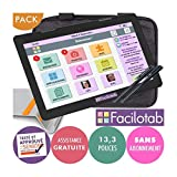 FACILOTAB Pack XXL 13,3 Pouces WiFi - 64 Go - Android 6 + Support + Sacoche + 2 Stylets (Tablette simplifiée pour Seniors)