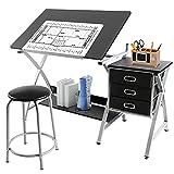Yaheetech Adjustable Height Art Desk Drawing Desk Tiltable Tabletop Drafting Board Craft Table