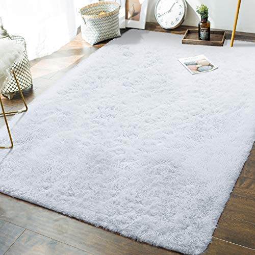 Andecor Soft Fluffy Bedroom Rugs - 5 x 8 Feet Indoor Shaggy Plush Area Rug for Boys Girls Kids Baby College Dorm Living Room Home Decor Floor Carpet, White