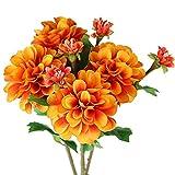 FLOWRY 4 flores artificiales de Dahlia de seda con tallos florales falso ramo de dalia de flores para arreglos ramos de boda, primavera, Pascua, decoración
