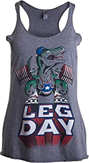 LEG DAY Funny Weight Lifter Barbell Training Squat Work Out Ladies' Racer Tank(Racerback,S),Sport Grey