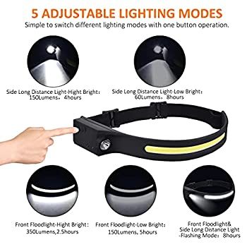 LED Headlamp, 1/2 Pack USB Rechargeable Headlamp with All Perspectives Induction 230° Illumination, 5 Modes Waterproof Flashlight Motion Sensor Control Head lamp for Running, Camping, Cycling (1pc)