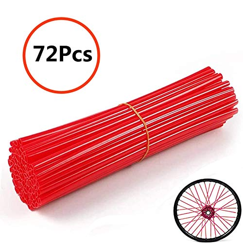 "Universal Bicycle Bike Spoke Covers - 72Pcs Motorcycle Wheelchair Wheel Spoke Wraps, Dirt Bike Spoke Skin, Pipe Trim for 8""-21"" Spoke Rims Spoke Covers Decoration Protector (Red)"