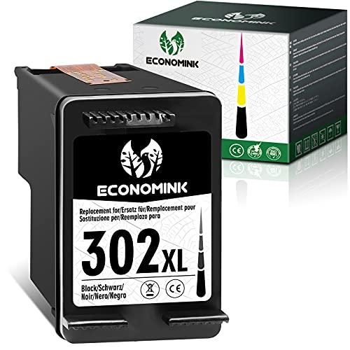 EconomInk 302XL Cartouche dencre remanufacturée de Remplacement pour HP 302 XL 302XL Noir pour Utilisation avec Officejet 3831 5232 Deskjet 3630 3636 Envy 4524 3639 4650 4658 5230 2130 4520 3834