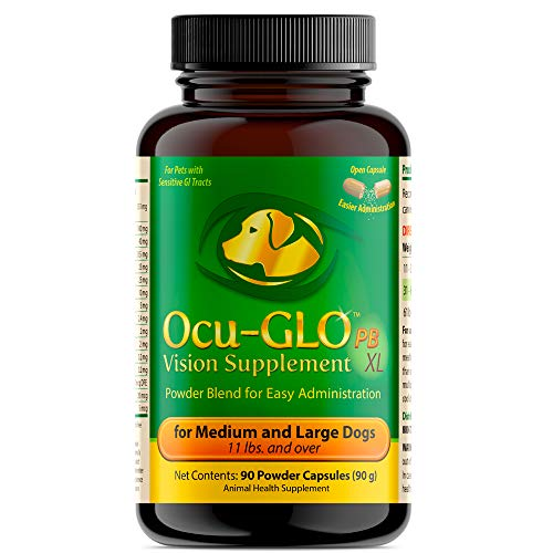 Ocu-GLO PB Vision Supplement for Medium & Large Dogs – Easy to Administer Powder Blend with Lutein, Omega-3 Fatty Acids, Grape Seed Extract & Antioxidants to Promote Eye Health, 90ct Powder Capsules