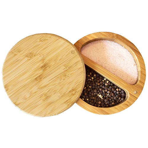 Totally Bamboo Box Salt Keeper Duet, Bamboo Container with Magnetic Lid for Secure Storage, Two Compartments for Salt & Spices, 1 EA