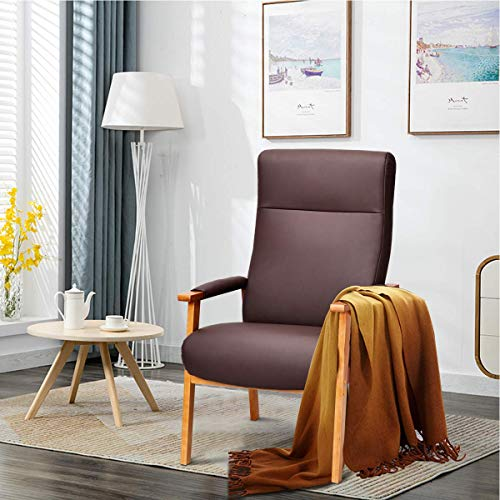 Giantex Accent Arm Chair PU Leather, High Lounge with Comfortable and Removable Cushions, Armrests...