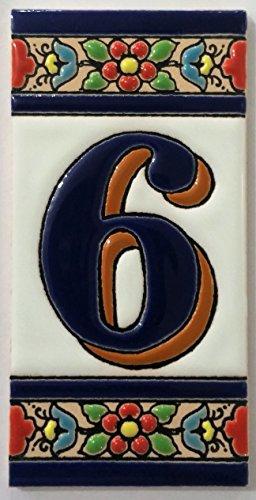 Letras y números de azulejo cerámico. Modelo flor azul. Medidas 11cm altura x 5,5 cm ancho MADE IN SPAIN (6 NÚMERO)