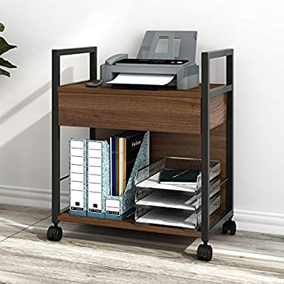 DEVAISE Mobile Printer Stand with Storage Drawer, Modern File Cabinet Printer Cart for Home Office