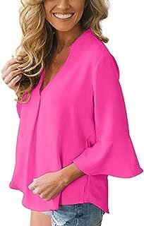 FimKaul Womens V Neck Ruffled Solid Chiffon Blouse Flare Sleeve T Shirt