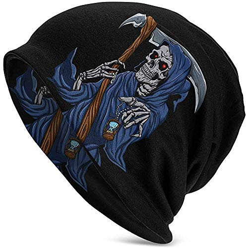 Mathillda Beanie Hat Reaper Grim met zandloper Novel Winter Warm gebreide cap Black