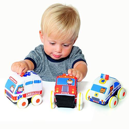 Coches de Tela de fricción Molto Cars&Fun. Juguete blandito Apto para bebés a Partir de 12 Meses, desarrolla la motricidad Fina. Desmontable para Lavar.