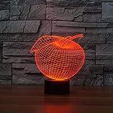 Hermosa forma de manzana 3D Night Light 7 colores que cambian el estado de ánimo Lámpara de mesa Led USB Decoración del dormitorio Baby Sleep Lighting Regalos de Navidad para niños