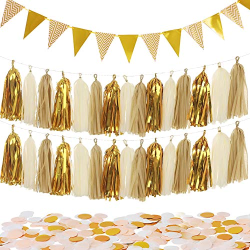 MerryNine Sparkly 30PCS Gold Tassel Garland and 15PCS Paper Pennant Banner Triangle Flags Bunting and 10g Gold Paper Confetti