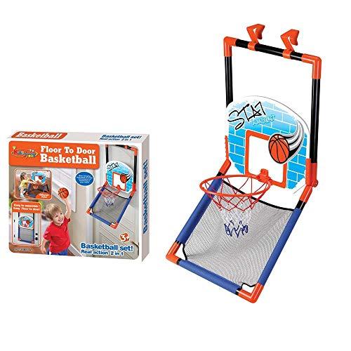 Juego De Baloncesto para Puerta O Suelo Soporte De Baloncesto para Niños Al Aire Libre Interior Basketball Hoop con Pelota, Red Y Bomba, Soportes De Baloncesto, Fácil De Instalar