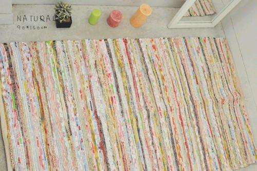インド綿 リサイクルラグ 裂き織り CChr157 約90×150 NA