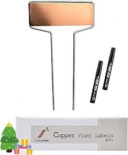 30 Copper Garden Stakes Plant Tags Nursery Labels Reusable Planting Gardening 2 Marker Pens Vegetable Herb Flower 10.8''