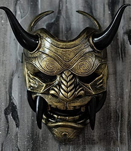 SnowDream Mascarilla de Hannya Halloween de Miedo Kabuki Warrior Demon Mask Adults Totalmente portátil Estilo decoración para el Festival Cosplay Disfraz Party Decoraciones,Latón