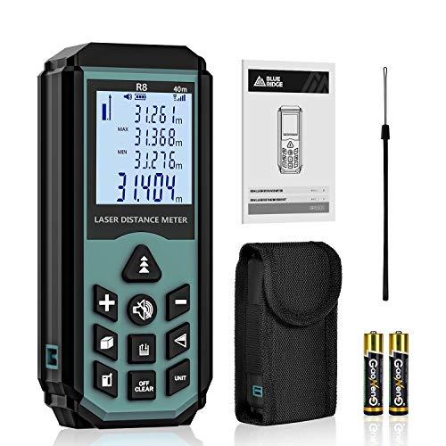 BLUE RIDGE PRO Digitaler Laser-Entfernungsmesser BR8906, 40 m, tragbares Messwerkzeug mit Stummschaltfunktion Großes LCD-Display, Winkel, Fläche und Volumen, pythagoräischer Modus