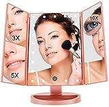 FASCINATE Miroir Lumineux de Maquillage Tri-pli 1X/3X/5X/10X avec 21 LED Grossissant Miroir de Maquillage avec Ecran Tactile Alimentation Double Rotation de 180 Degrés Libre Réglabl (Or Rose)