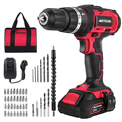 Cordless Drill Driver, Meterk 20V Cordless Electric Drill...