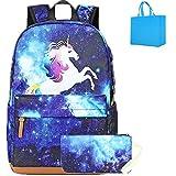 Galaxy Schulrucksack Rucksack Einhorn Schultasche Set reiserucksack für mädchen Jungen Kinder Damen Jugendliche mit Kleine Täschchen Mäppchen blau (Blau)
